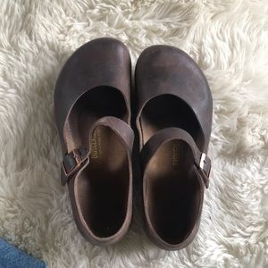Birkenstock Dark Oiled Leather Mary Jane Size 37